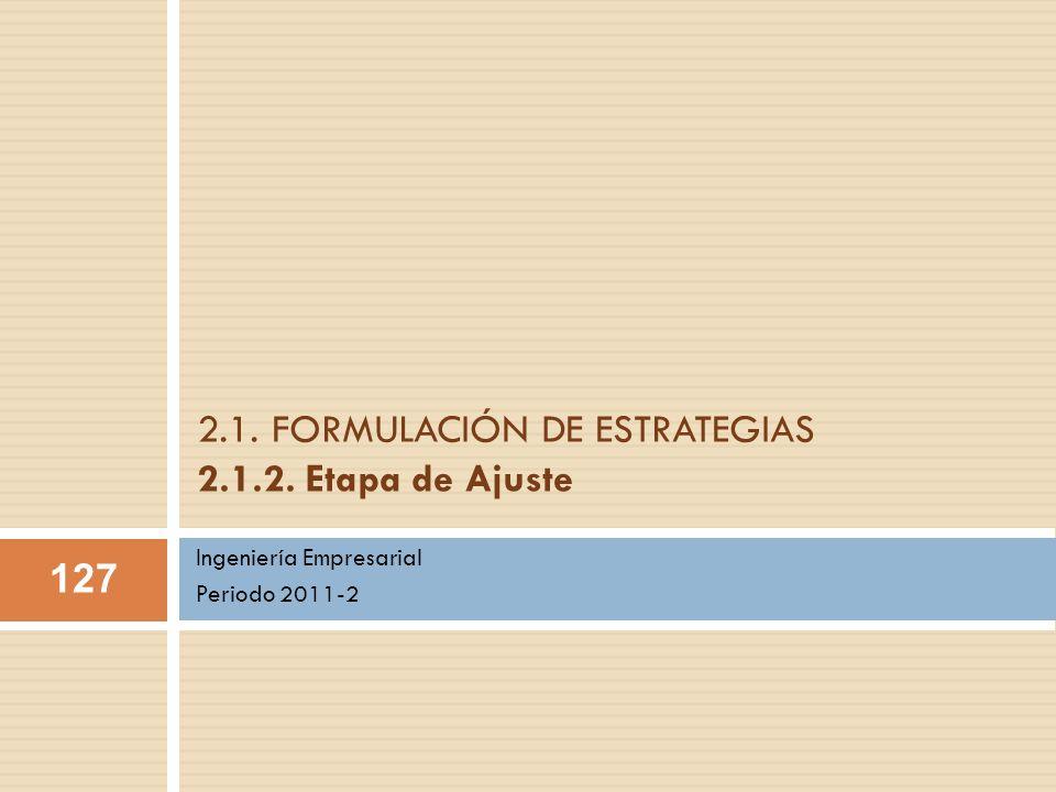 2.1. FORMULACIÓN DE ESTRATEGIAS 2.1.2. Etapa de Ajuste