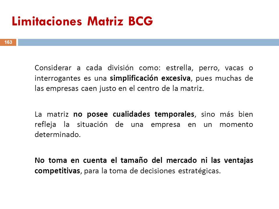 Limitaciones Matriz BCG