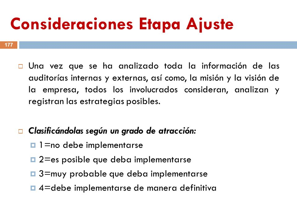 Consideraciones Etapa Ajuste