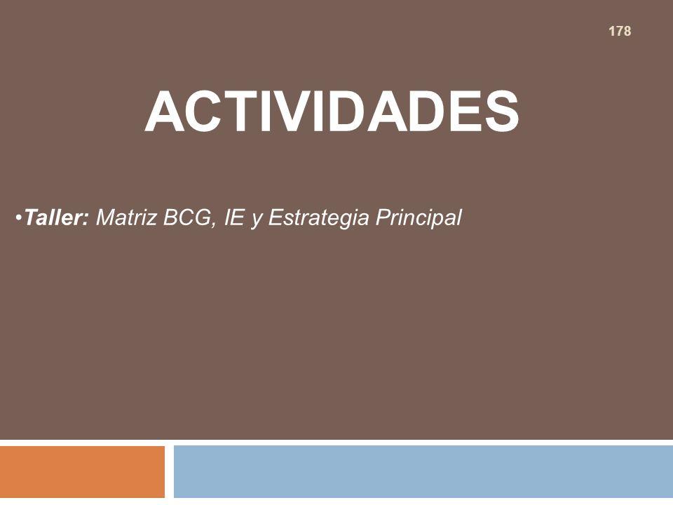 ACTIVIDADES Taller: Matriz BCG, IE y Estrategia Principal