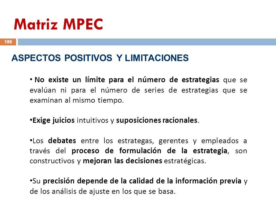 Matriz MPEC ASPECTOS POSITIVOS Y LIMITACIONES