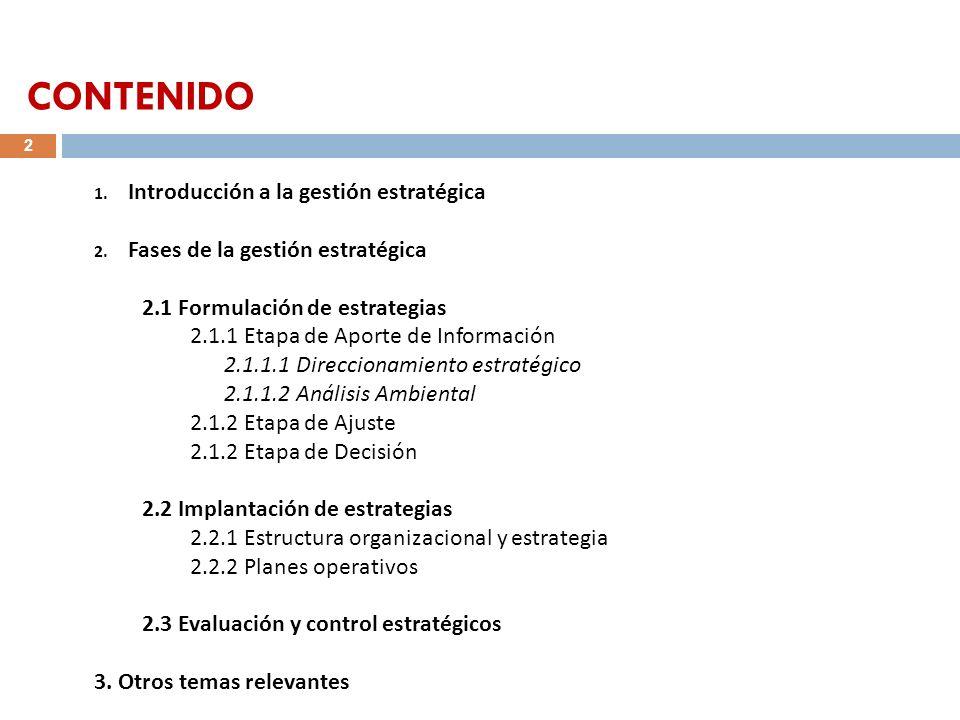 CONTENIDO Introducción a la gestión estratégica