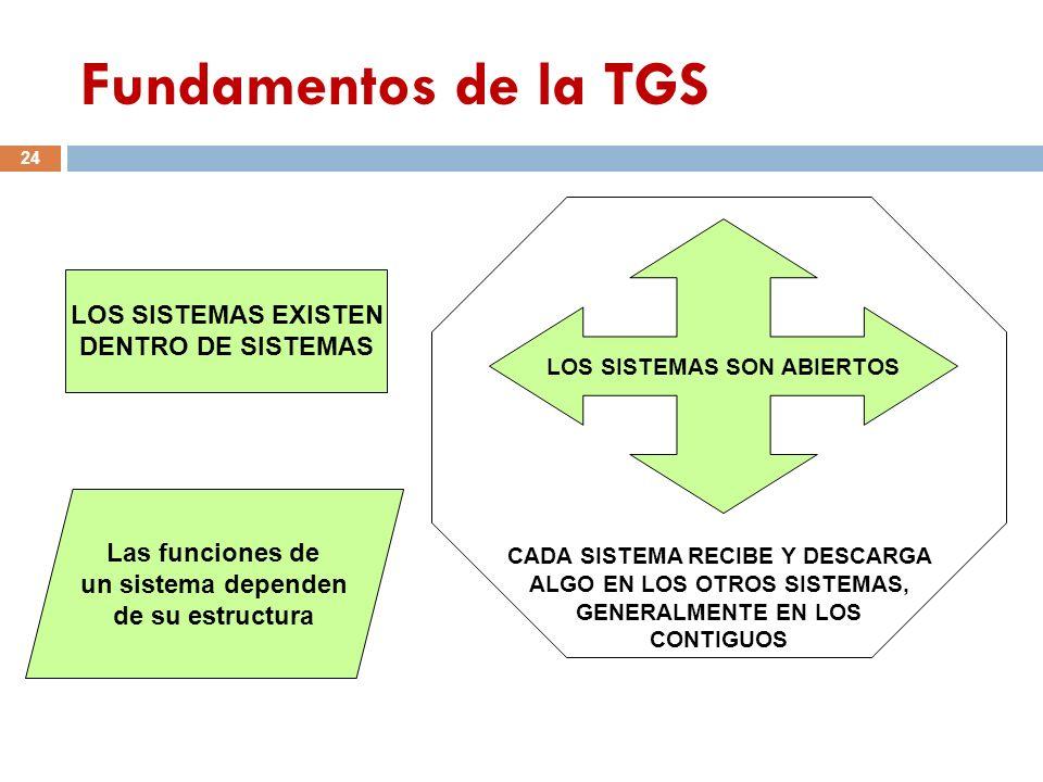 Fundamentos de la TGS LOS SISTEMAS EXISTEN DENTRO DE SISTEMAS