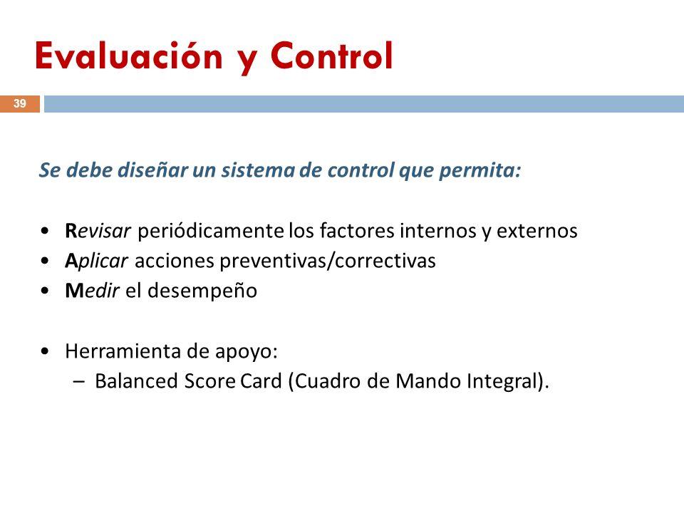 Evaluación y Control Se debe diseñar un sistema de control que permita: Revisar periódicamente los factores internos y externos.