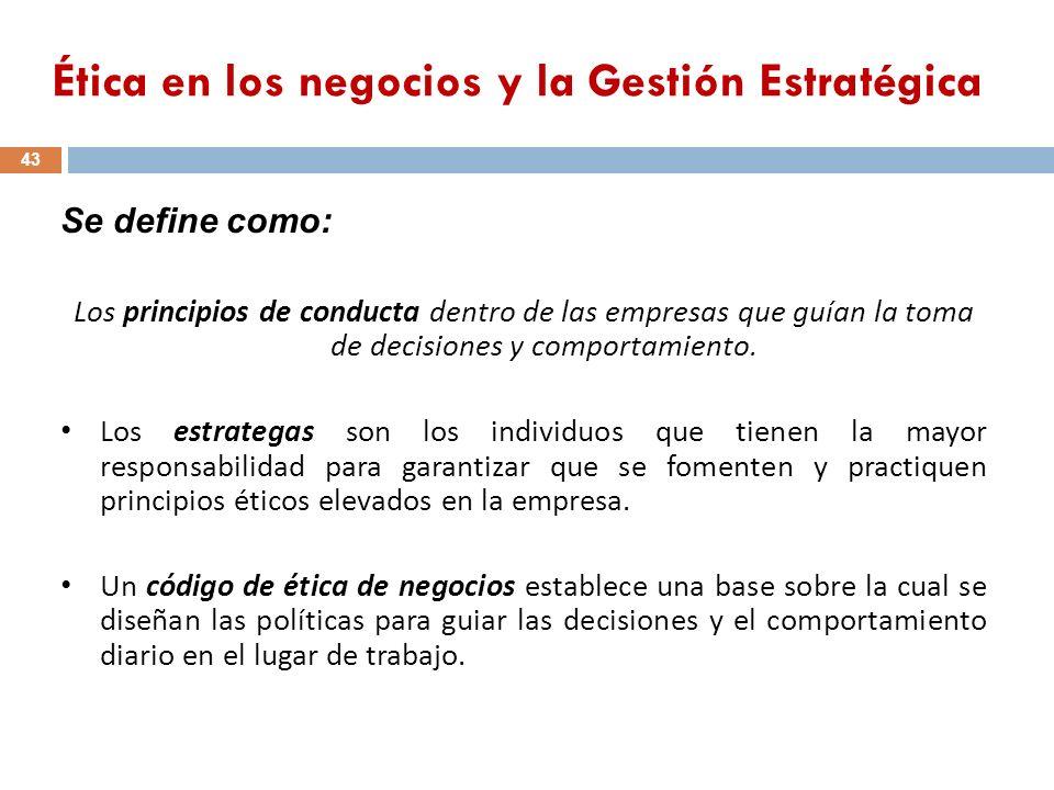 Ética en los negocios y la Gestión Estratégica