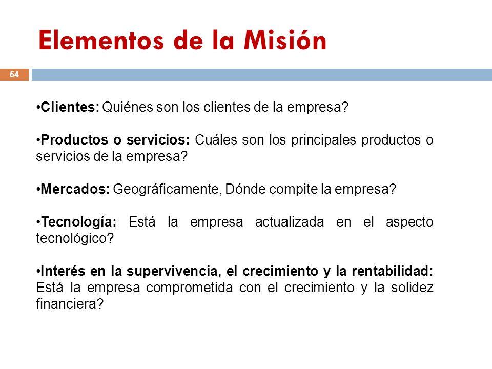 Elementos de la Misión Clientes: Quiénes son los clientes de la empresa