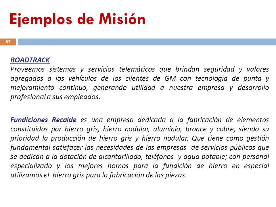 Ejemplos de Misión ROADTRACK