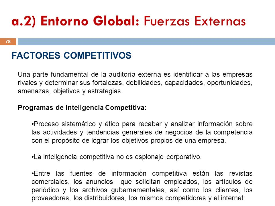 a.2) Entorno Global: Fuerzas Externas