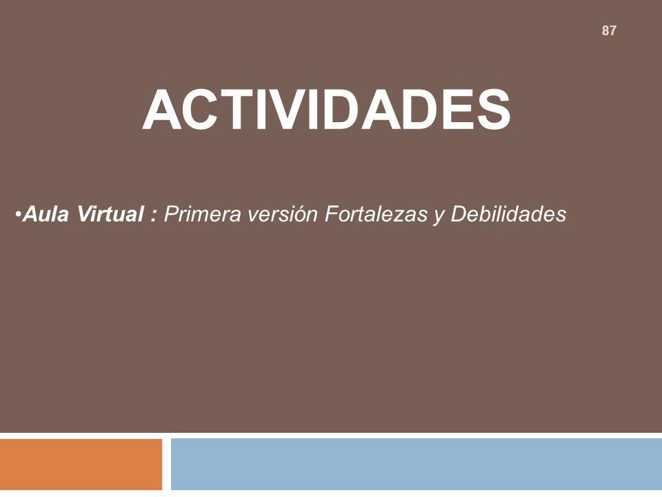 ACTIVIDADES Aula Virtual : Primera versión Fortalezas y Debilidades