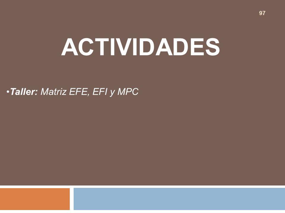 ACTIVIDADES Taller: Matriz EFE, EFI y MPC