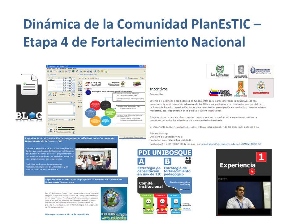 Dinámica de la Comunidad PlanEsTIC – Etapa 4 de Fortalecimiento Nacional