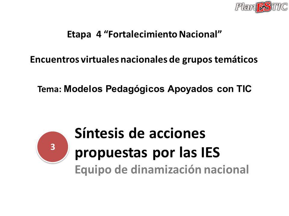 Síntesis de acciones propuestas por las IES