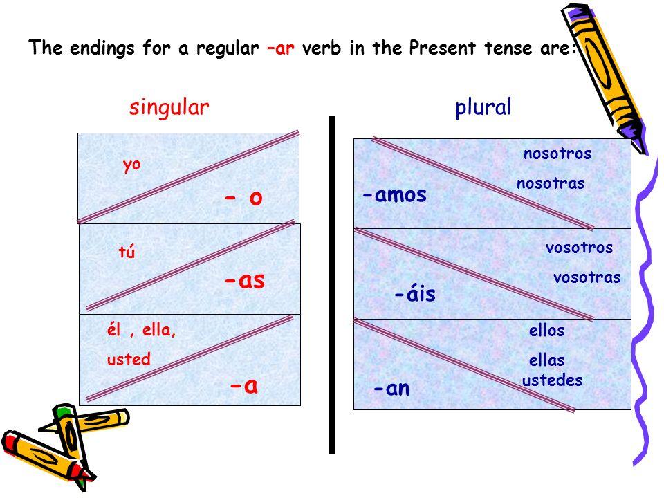 singular plural - o -as -a -amos -áis -an