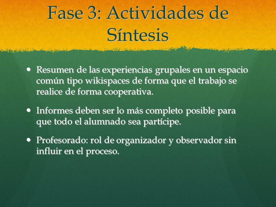 Fase 3: Actividades de Síntesis