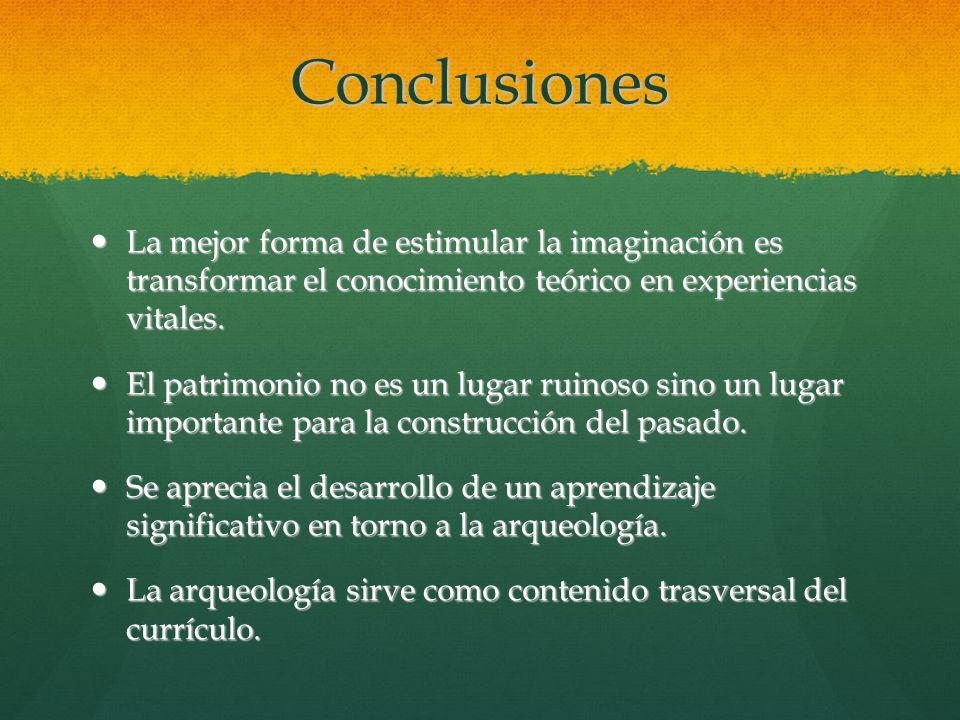 Conclusiones La mejor forma de estimular la imaginación es transformar el conocimiento teórico en experiencias vitales.