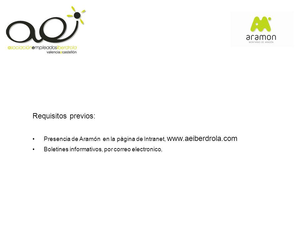 Requisitos previos: Presencia de Aramón en la página de Intranet, www.aeiberdrola.com.