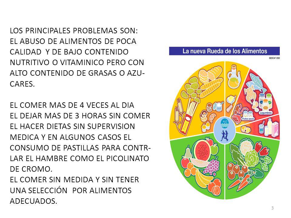 LOS PRINCIPALES PROBLEMAS SON: EL ABUSO DE ALIMENTOS DE POCA CALIDAD Y DE BAJO CONTENIDO NUTRITIVO O VITAMINICO PERO CON ALTO CONTENIDO DE GRASAS O AZU- CARES.