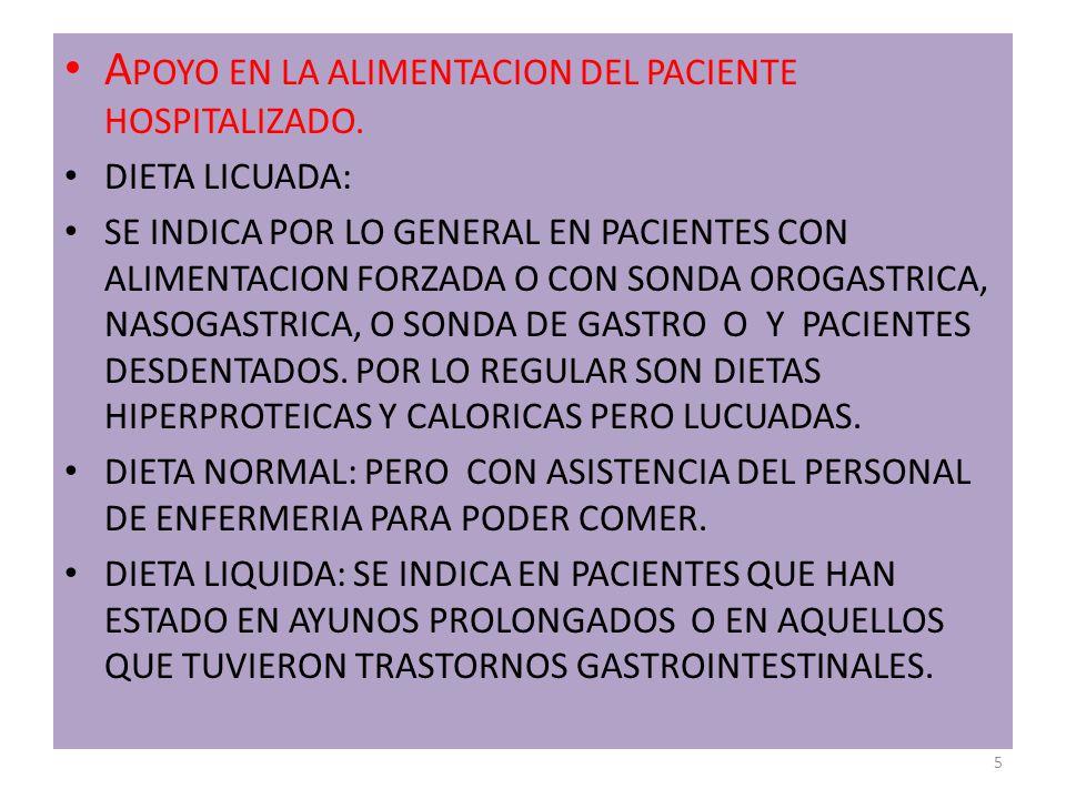 APOYO EN LA ALIMENTACION DEL PACIENTE HOSPITALIZADO.