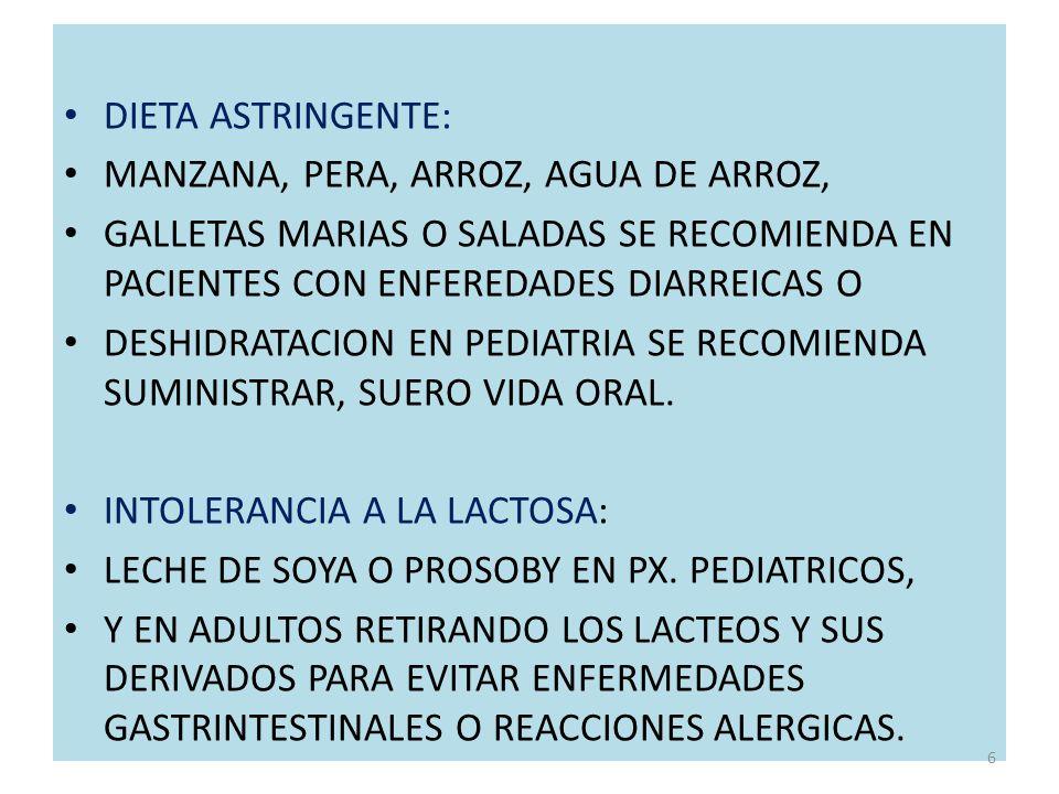 DIETA ASTRINGENTE: MANZANA, PERA, ARROZ, AGUA DE ARROZ, GALLETAS MARIAS O SALADAS SE RECOMIENDA EN PACIENTES CON ENFEREDADES DIARREICAS O.