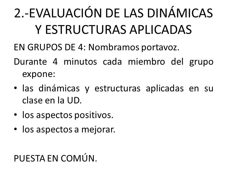 2.-EVALUACIÓN DE LAS DINÁMICAS Y ESTRUCTURAS APLICADAS