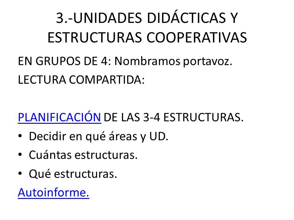 3.-UNIDADES DIDÁCTICAS Y ESTRUCTURAS COOPERATIVAS