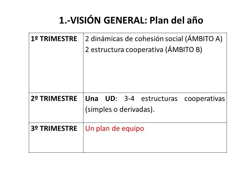 1.-VISIÓN GENERAL: Plan del año