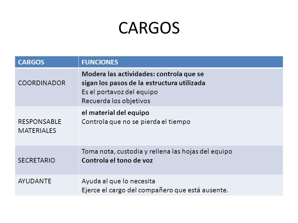 CARGOS CARGOS FUNCIONES COORDINADOR