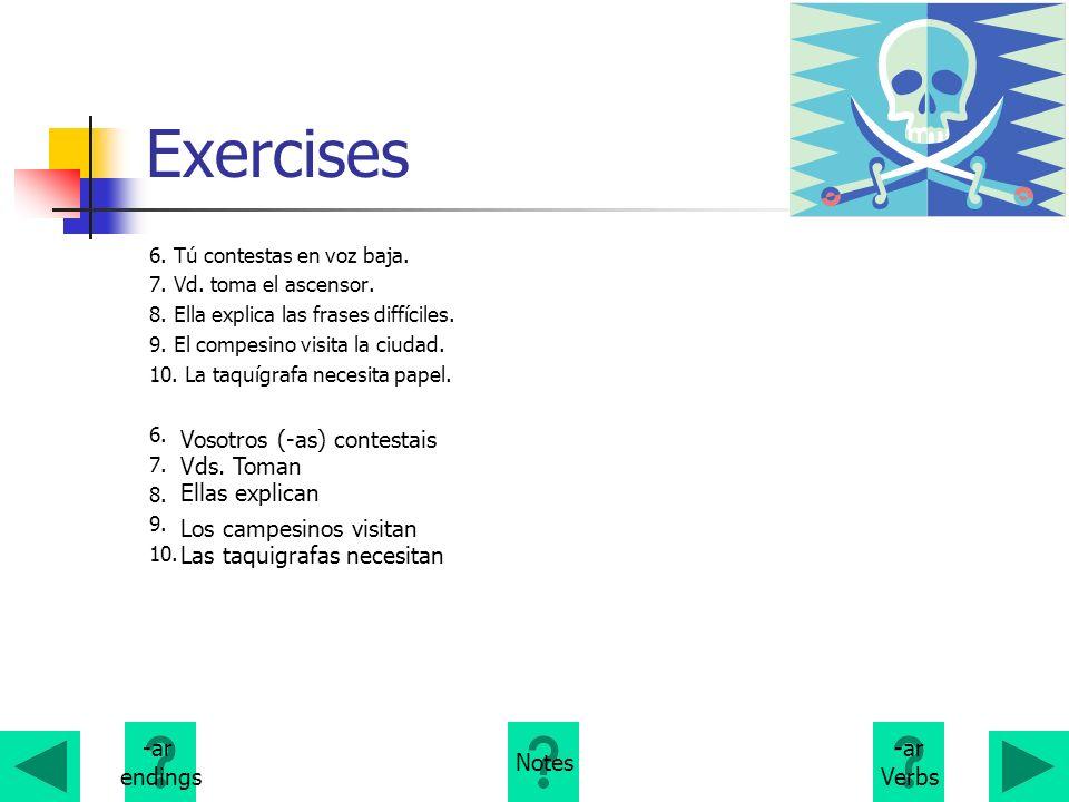 Exercises Vosotros (-as) contestais Vds. Toman Ellas explican