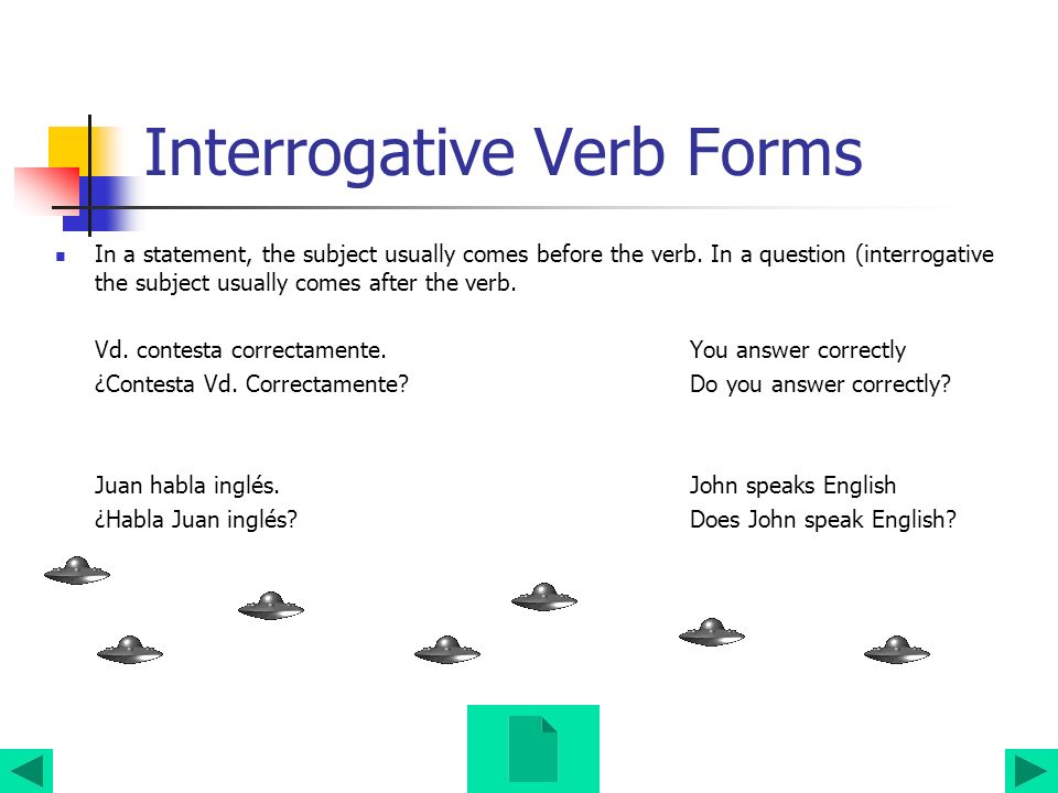 Interrogative Verb Forms