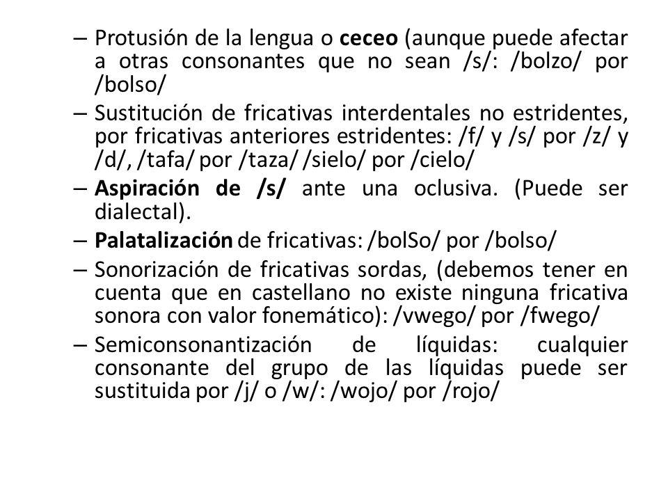 Protusión de la lengua o ceceo (aunque puede afectar a otras consonantes que no sean /s/: /bolzo/ por /bolso/