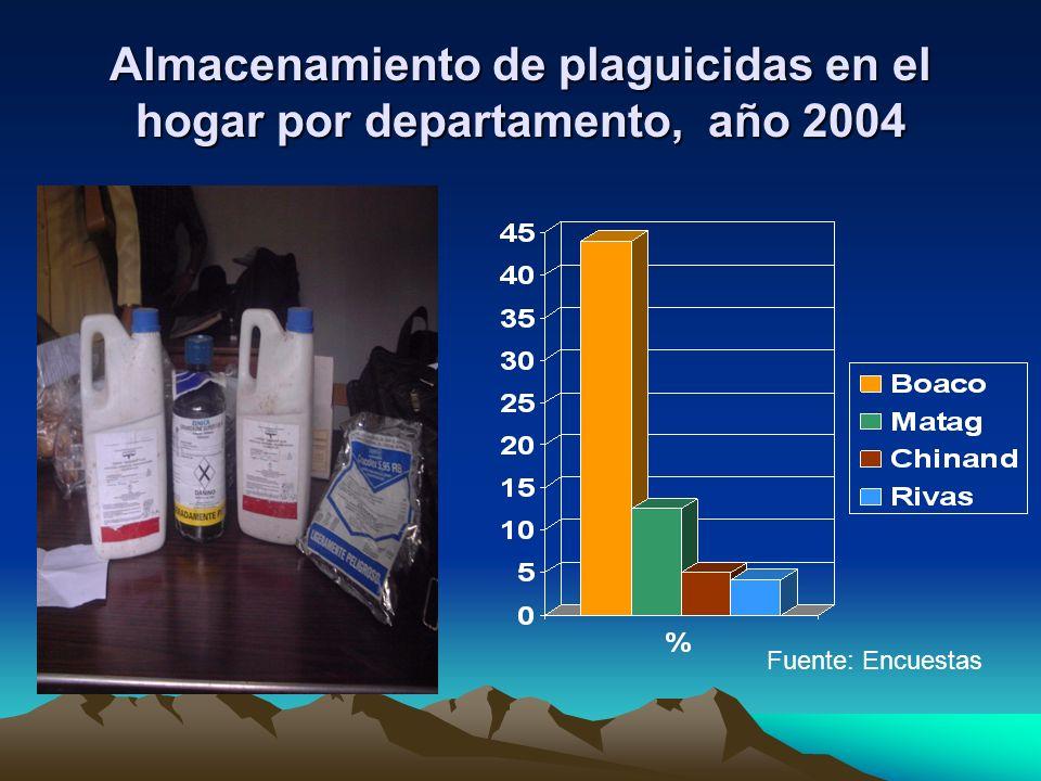 Almacenamiento de plaguicidas en el hogar por departamento, año 2004