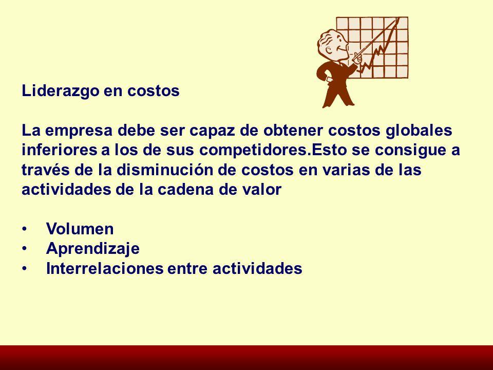 Liderazgo en costos La empresa debe ser capaz de obtener costos globales. inferiores a los de sus competidores.Esto se consigue a.
