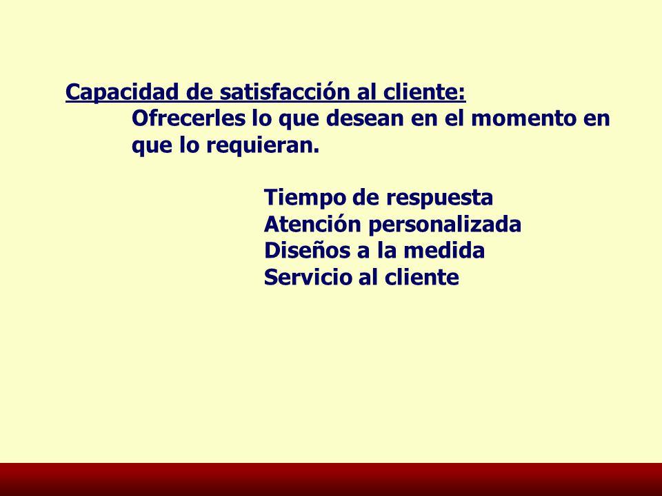Capacidad de satisfacción al cliente:
