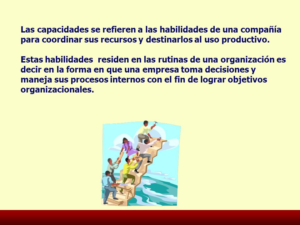 Las capacidades se refieren a las habilidades de una compañía para coordinar sus recursos y destinarlos al uso productivo.