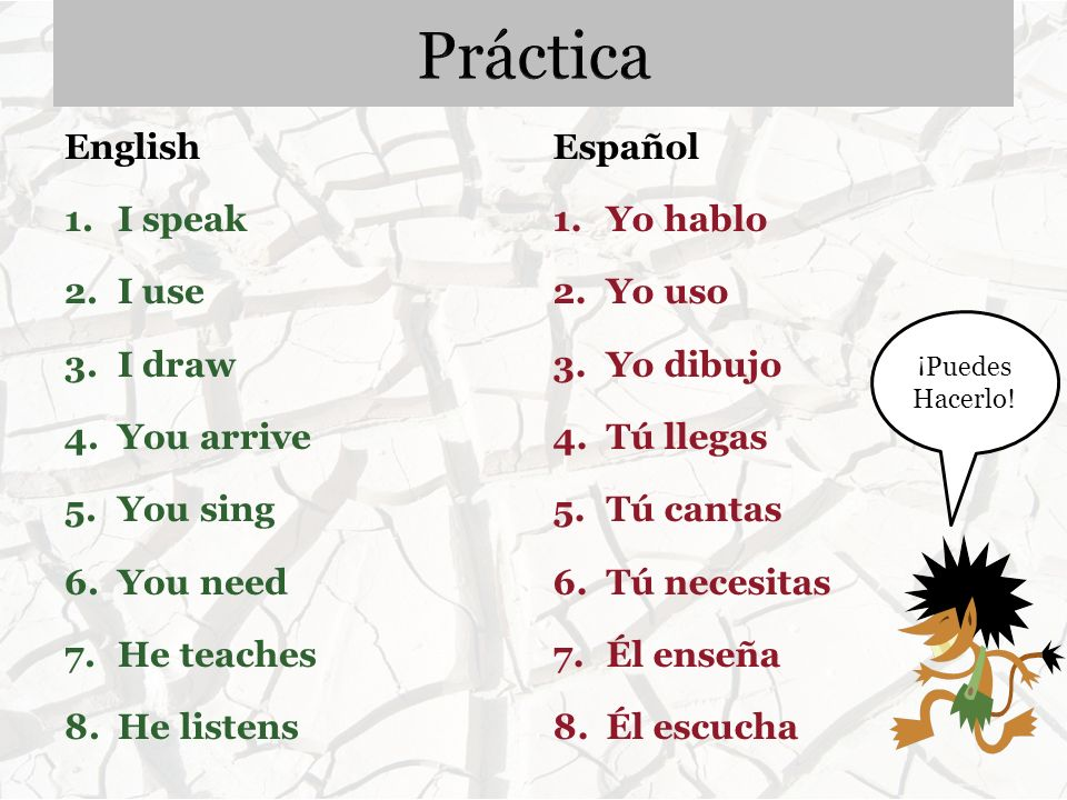 Práctica English Español I speak I use I draw You arrive You sing