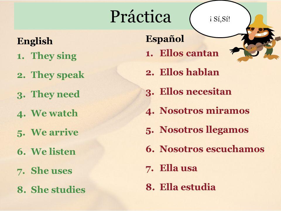 Práctica Español English Ellos cantan They sing Ellos hablan
