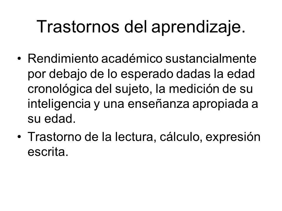 Trastornos del aprendizaje.