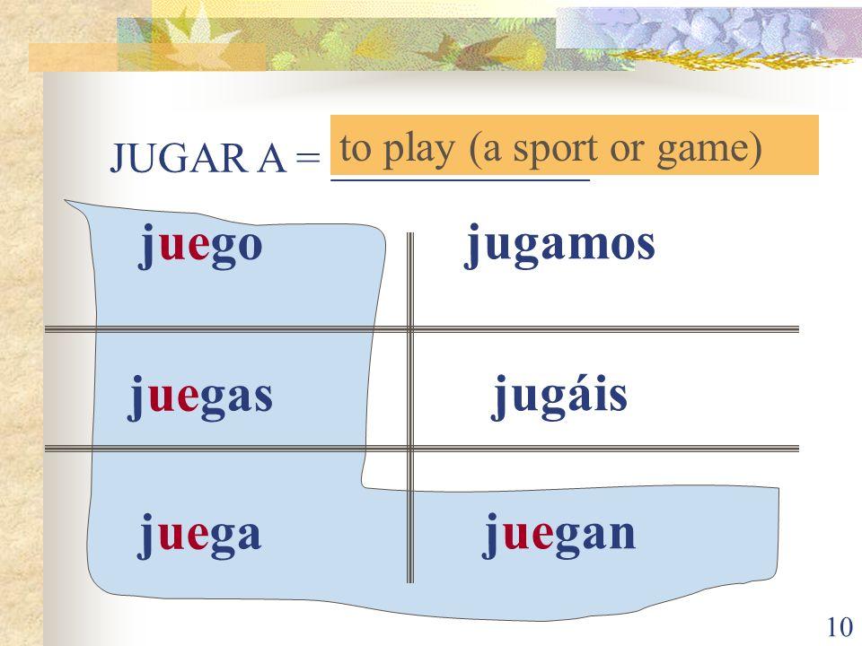 juego juegas juega jugamos jugáis juegan