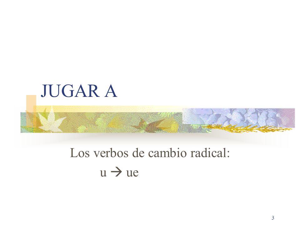 Los verbos de cambio radical: u  ue