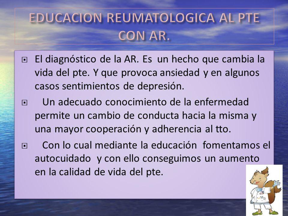 EDUCACION REUMATOLOGICA AL PTE CON AR.