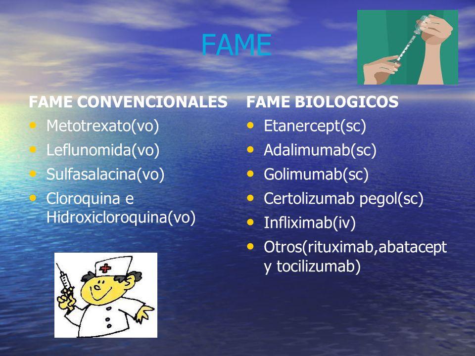 FAME FAME CONVENCIONALES FAME BIOLOGICOS Metotrexato(vo)