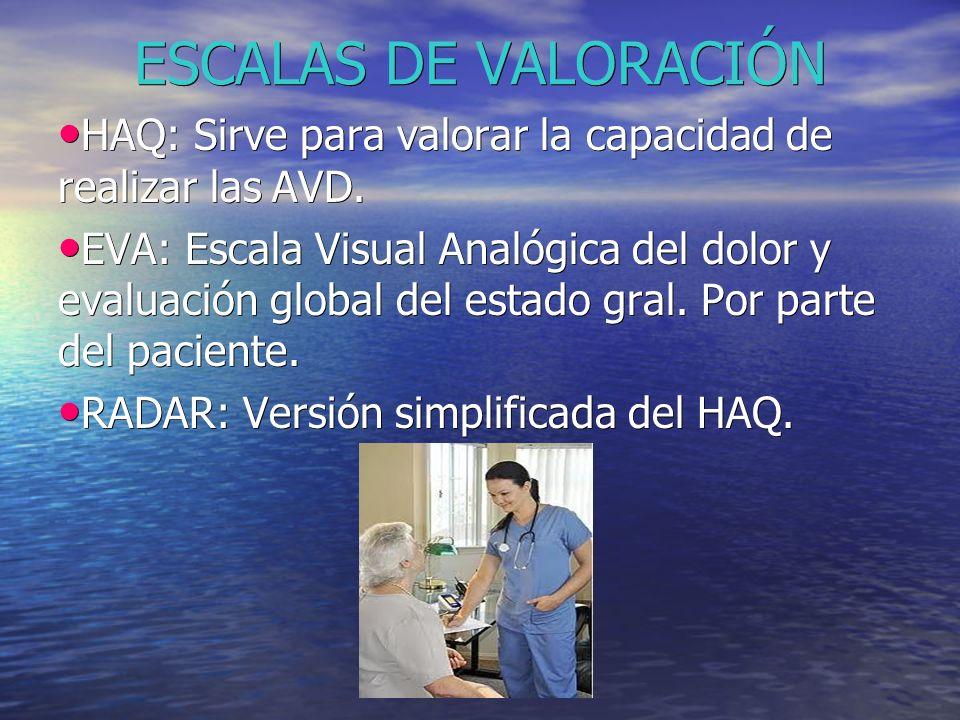ESCALAS DE VALORACIÓN HAQ: Sirve para valorar la capacidad de realizar las AVD.
