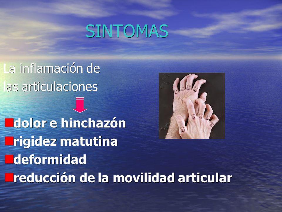 SINTOMAS La inflamación de las articulaciones dolor e hinchazón