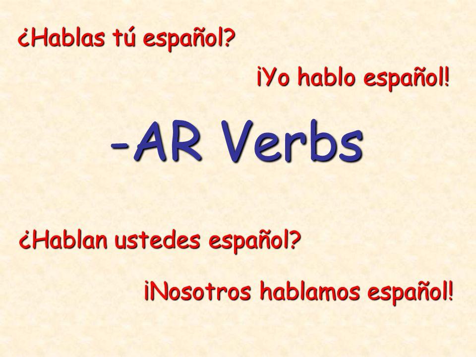 -AR Verbs ¿Hablas tú español ¡Yo hablo español!