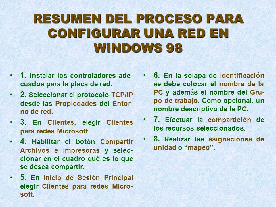 RESUMEN DEL PROCESO PARA CONFIGURAR UNA RED EN WINDOWS 98