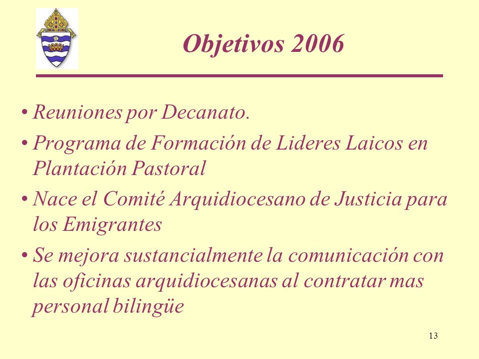 Objetivos 2006 Reuniones por Decanato.
