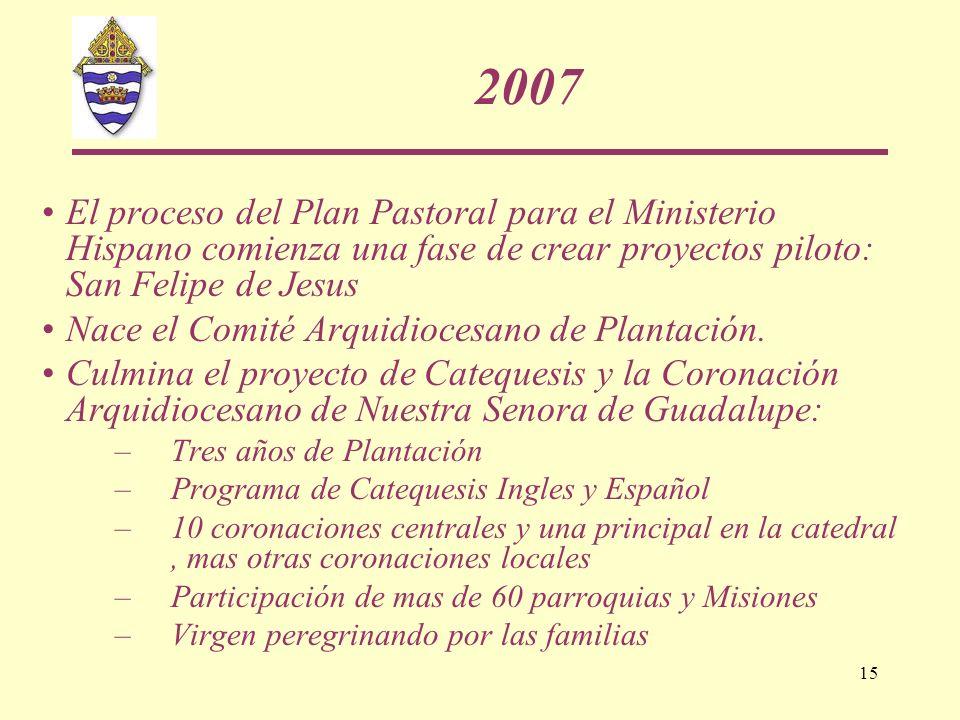 2007 El proceso del Plan Pastoral para el Ministerio Hispano comienza una fase de crear proyectos piloto: San Felipe de Jesus.