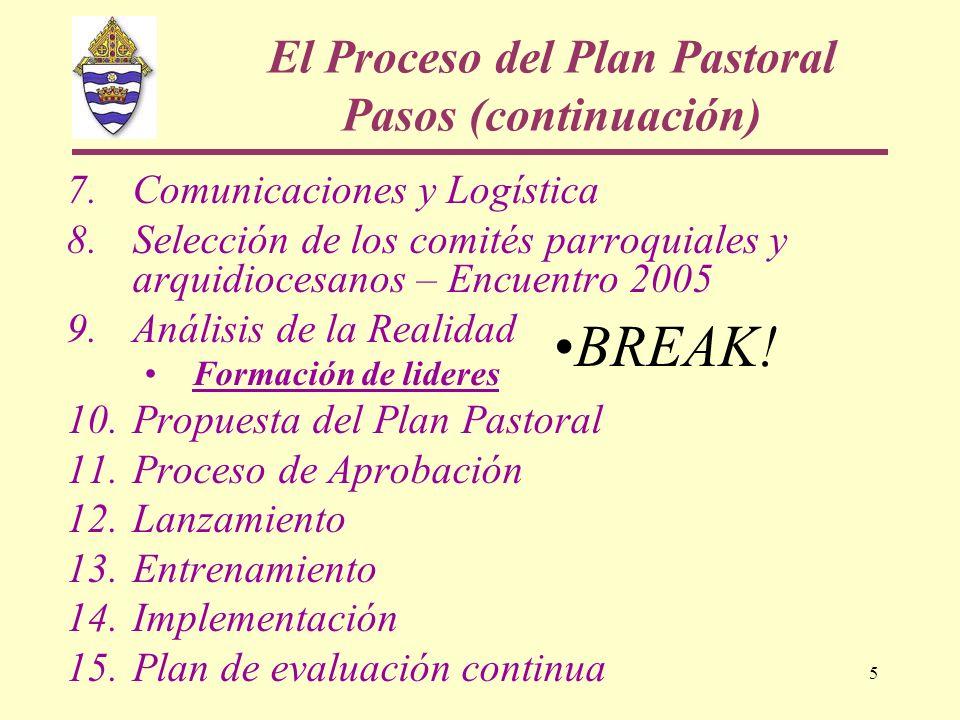 El Proceso del Plan Pastoral Pasos (continuación)
