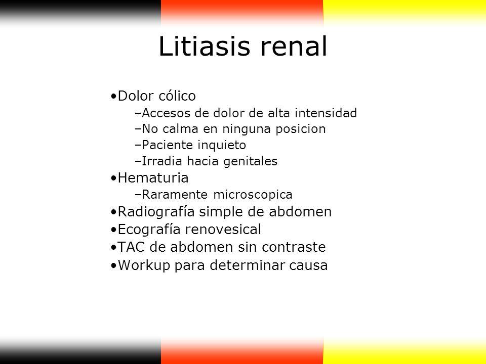 Litiasis renal Dolor cólico Hematuria Radiografía simple de abdomen