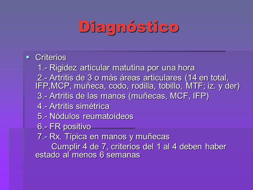 Diagnóstico Criterios 1.- Rigidez articular matutina por una hora